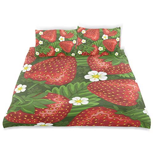 Unicey Herb Strawberry Bed Duvet Cover Set Three Pieces for Kids, Boys, Girls