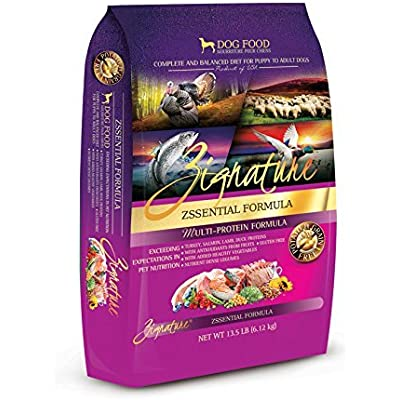 Zignature 13.5 LB Dry Dog Food, Zssential Formula, Hypoallergenic, No Corn, Wheat, Soy, Dairy, or Chicken, Chicken Eggs, or Chicken by-Products.(Turkey, Lamb, Duck & Salmon)