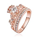 Haoze Women's 18K Rose Gold Plated Cubic Zirconia Princess Luxury Gorgeous Crown Ring Best for Wedding Engagement