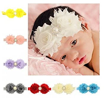 Artempo Fashion Baby Headbands Rose Pearl Ribbon Hairbands, Different Colors, 10PCS