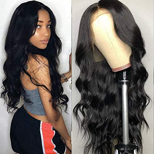 Tuneful Unprocessed Virgin Brazilian Body Wave Human Hair Lace Front Wigs with Baby Hair 130% Density Pre Plucked Natural Hairline wigs for Black Women Natural Color (16 inch, 13X 4 Lace Wigs)