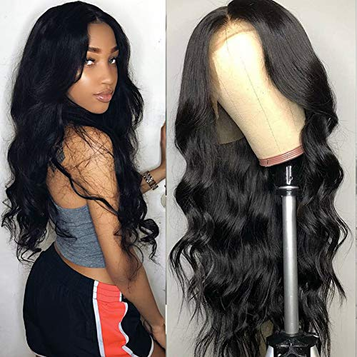 Tuneful Unprocessed Virgin Brazilian Body Wave Human Hair Lace Front Wigs with Baby Hair 130% Density Pre Plucked Natural Hairline wigs for Black Women Natural Color 20 inch]()