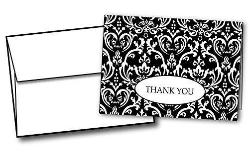 (Black & White Formal Damask Thank You Cards - 48 Cards & Envelopes)