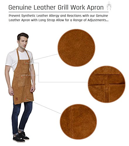 Rustic Town Genuine Leather Grill Work Apron with Tool Pockets ~ Adjustable up to XXL for Men & Women ~ Gift Ideas for Him Her (Tan) by Rustic Town (Image #2)