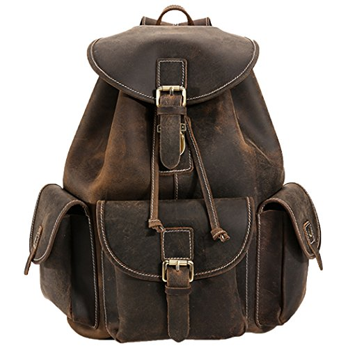 Vertical Nylon Backpack - Polare Thick Genuine Leather Backpack Vintage College Laptop Bag