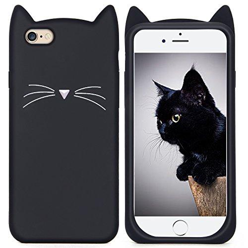 観光に行く美容師控えめなImikoko iPhone 6s Plus ケース iPhone 6 Plus ケース シリコン 猫 かわいい 黒 アイフォン6sプラスケース (iPhone 6/6s Plus 5.5, ブラック)
