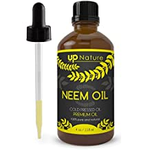 UpNature The Best Neem Oil 4 OZ Extract - Cold Pressed - Unrefined Premium Quality - For Hair & Skin & Plants - With Dropper Made of Glass - Use to Make Soap, Shampoo & Lotion - Acts as Insecticide