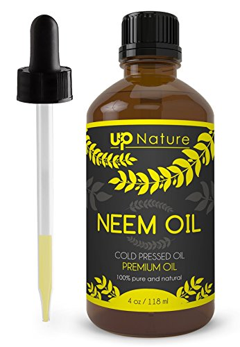 UpNature The Best Neem Oil 4 OZ Extract - Cold Pressed - Unrefined Premium Quality - For Hair & Skin & Plants - With Dropper Made of Glass - Use to Make Soap, Shampoo & Lotion - Acts as Insecticide ()