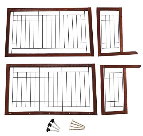 Tobbi Large Wooden Indoor Pet Dogs Fence 71-Inch Safety Gate Freestanding for Small Dogs Animals Brown by Tobbi (Image #4)