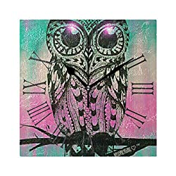 YOYUPRO 8 Decorative Wall Clock Silent Movement - Big Eyes Cute Owl Wallpaper