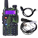 BaoFeng UV-5R 136-174/400-480MHz Dual-Band DTMF FM ham Walkie Talkie Camouflage Color+Zastone Air Acoustic Tube Headset Earpiece For Baofeng Kenwood+USB Programming Cable
