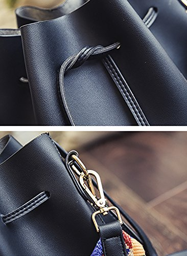Crossbody Leather Bag Drawstring Shoulder With Colorful Strap Purse Bag PU Bag Women's Black Bucket XwT8q