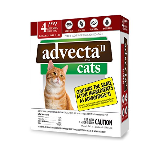 Advecta II Flea Treatment for Cats Over 9 lbs, Flea Prevention for Cats, 4 Month Supply