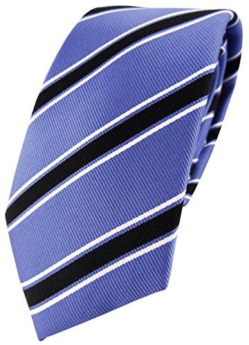 TigerTie cravate en soie bleu noir blanc rayé - cravate pure soie