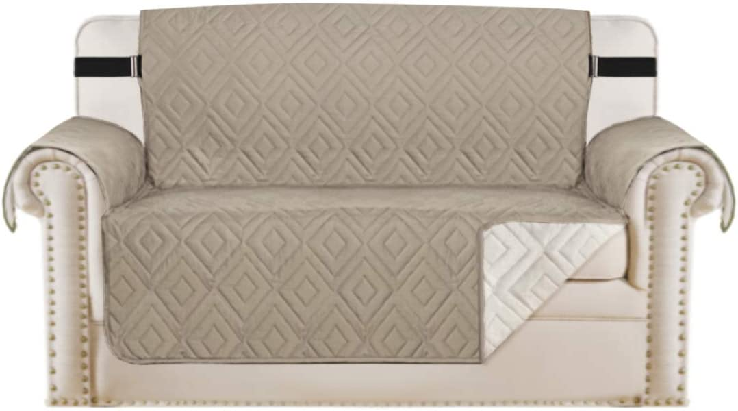 "H.VERSAILTEX Reversible Loveseat Cover Furniture Protector Anti-Slip Water Resistant 2 Inch Wide Elastic Straps Couch Covers Pets Kids Fit Sitting Width Up to 46""(Love Seat, Khaki/Beige)"
