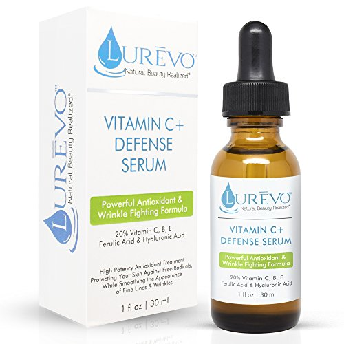 Lurevo's 20% Pure Vitamin C Serum Plus Vitamin's B + E + Ferulic Acid and Hyaluronic Acid – This Hyperpigmentation Treatment Repairs Sun Damage, Fade Age Spots and Reduces Wrinkles & Fine Lines (Stick Plus Vitamin Moisture E)