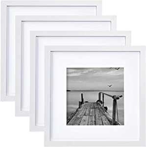 FRAMICS 4 Pack 12x12 Picture Frames, Display 8x8 Photo with Picture Mat, White Picture Frames Made of Solid Wood for Wall Mounting or Table Top, Mounting Hardware Included