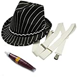 Best Funny Party Hats Costumes - 20's Gangster Costume Hat Toy Cigar White Suspenders Review