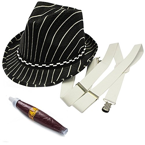 Boys Gangster Costumes 20s (20's Gangster Costume Hat Toy Cigar White Suspenders by Funny Party)