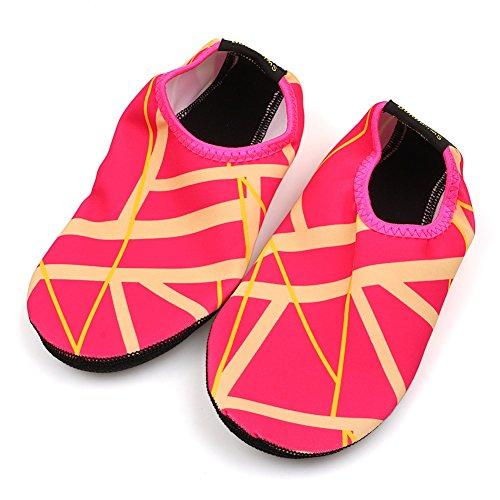 Distinct Unisex Diving Shoes Mens Womens, Sports Aqua Socks for Walking, Yoga, Beach, Garden, Park, Diving, Boating XS~XXL Rose Red