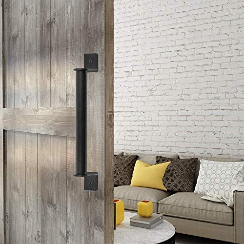 ZEKOO - Tirador de puerta corredera de acero negro para puerta de ...