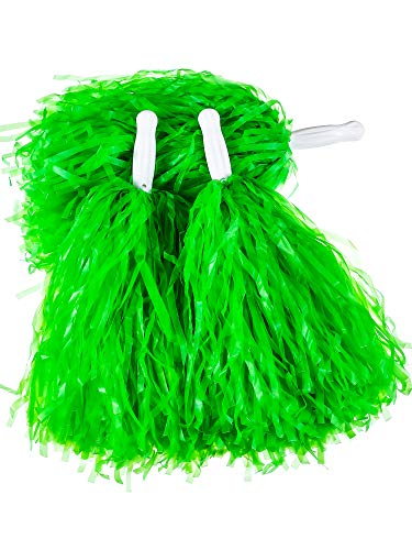 (Pangda 12 Pack Cheerleading Pom Poms Sports Dance Cheer Plastic Pom Pom for Sports Team Spirit Cheering (Green))