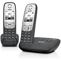 Gigaset A415A Duo Telefon/Schnurlostelefon/zwei Mobilteile mit Grafik Display - Dect-Telefon mit Anrufbeantworter/Freisprechfunktion - Analog Telefon - Schwarz