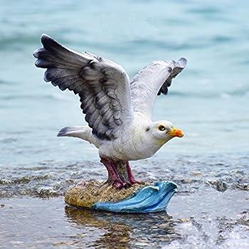 "Danmu 1pc Polyresin Seagull Statue Home Garden Decor 12.2"" x 10.23"" x 9.84"""