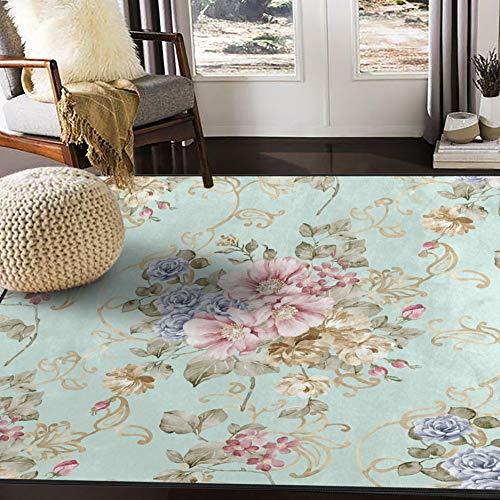 ALAZA Fresh Spring Flowers Area Rug Rugs for Living Room Bedroom 7'x5'