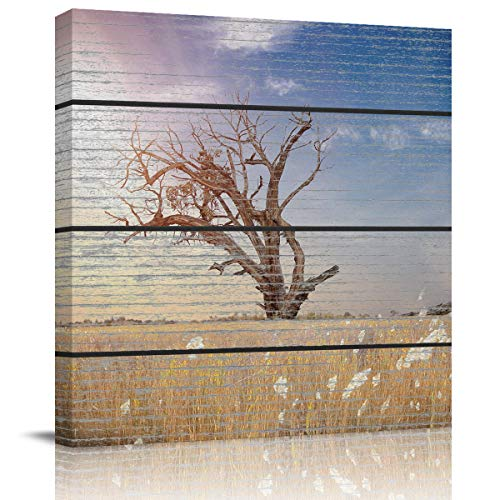 Painting Canvas Wall Art Dead Tree On The Grassland Under The Blue Sky Giclee Artwork Modern Framed Prints Ready to Hang Wall Paintings for Living Room Bedroom Kitchen Home Decorations 12x12inch]()