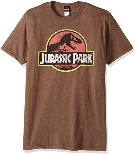 Jurassic Park Men's Movie Logo T-Shirt, Mocha Heather, X-Large