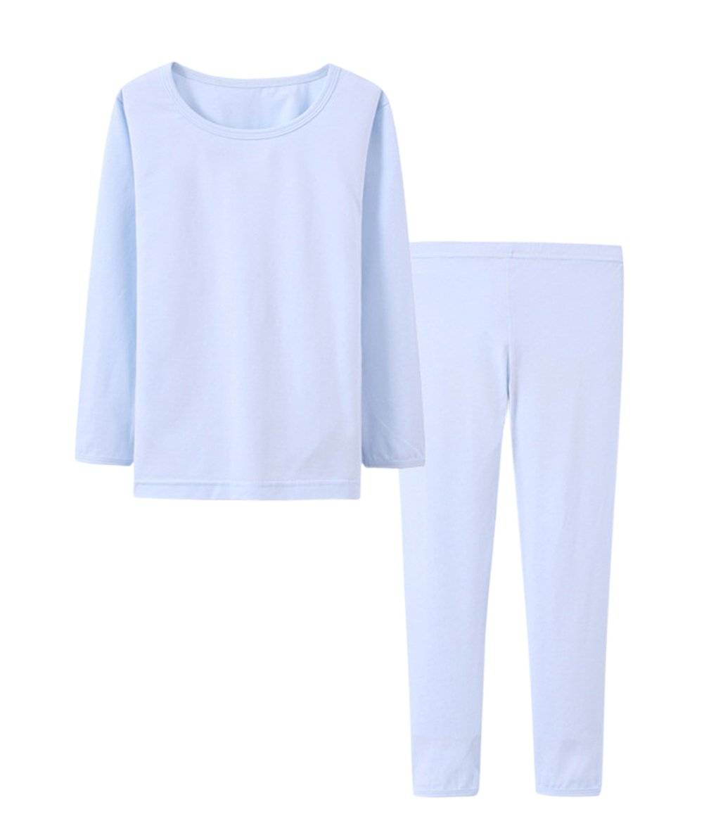 Tortor 1bacha Kid Girl Boy Solid Color Thermal Underwear Long John Top Bottom Set 86202
