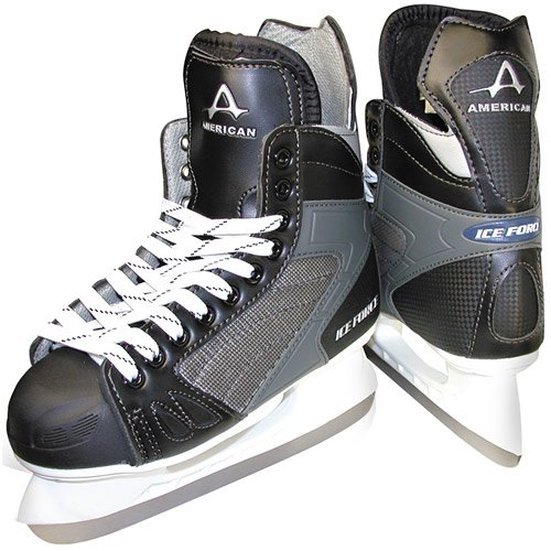 American Athletic Shoe Boy's Ice Force Hockey Skates, Black, 4