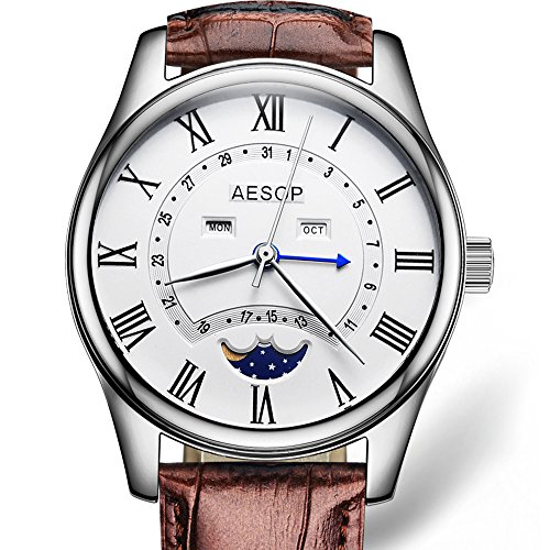 Fashion Men Watch Men Sapphire Crystal Quartz Wrist Wristwatch Moon Phase Leather Watches (Brown Leather Strap)