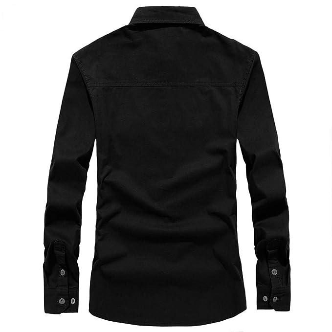 Blusa de Hombre by BaZhaHei, Superior de Manga Larga de Hombre de Polo Larga de botón Camisetas de Carga Militar para Hombre de otoño del Manga Larga de ...
