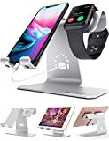 Bestand 2 in 1 Apple iwatch Charging Stand Holder& Phone Desktop Tablet Dock for Apple Watch/iPhone X/8Plus/8/7 Plus/iPad(Upscale Silver)