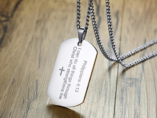 Philippians 4:13 Bible Verse Engraved Stainless Steel Dogtag Pendant Necklace for Men,Christian Religous Jewelry,Silver by Mealguet Jewelry (Image #2)