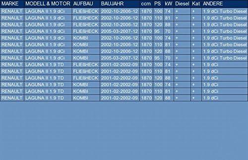 pour LAGUNA II 1.9 dCi 1.9 TD HATCHBACK FAMILIAR 100//110//120//95hp 2001-2007 el kit de montaje completo ETS-EXHAUST 52330 Tubo Intermedio