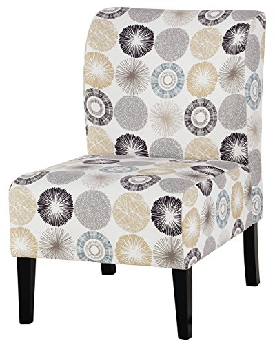 Ashley Furniture Signature Design – Triptis Accent Chair – Contemporary – Gray/Tan Geometric Design – Dark Brown Legs For Sale