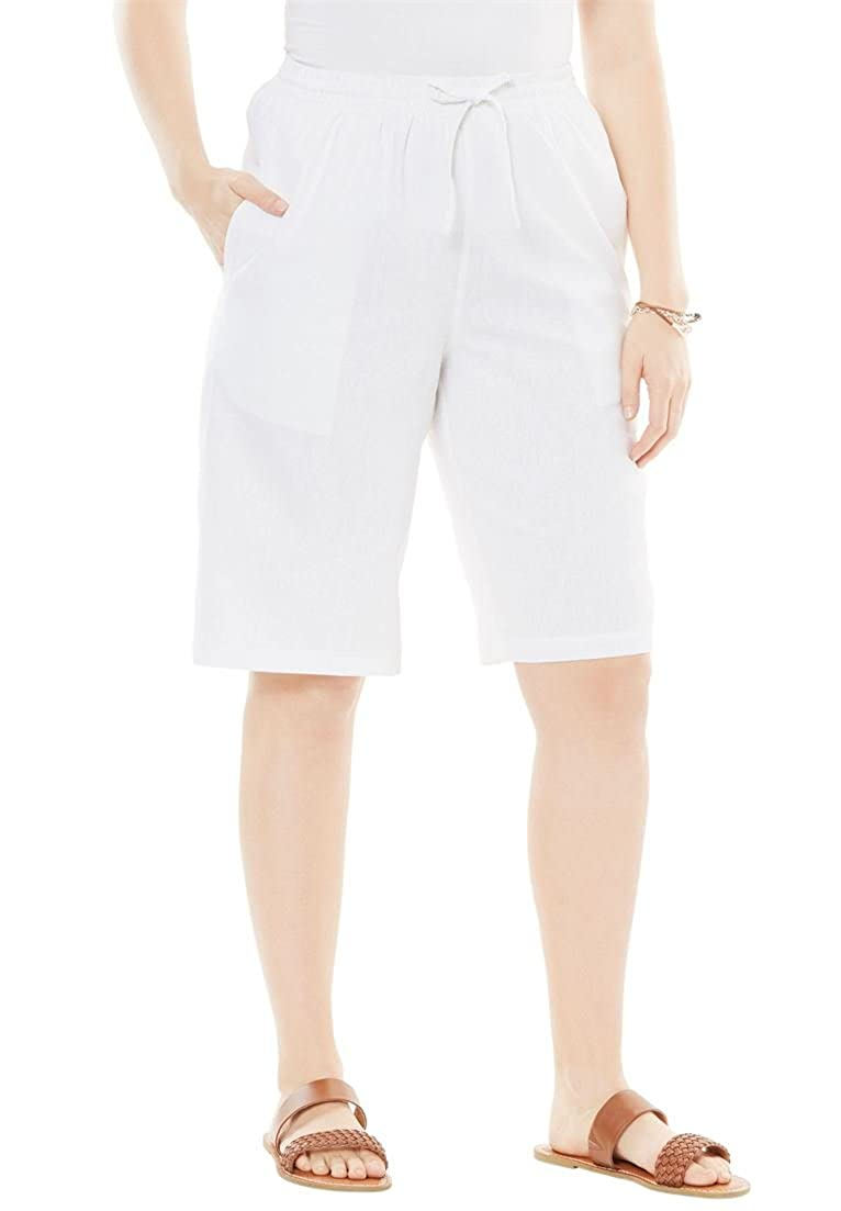 Woman Within Plus Size Linen Shorts