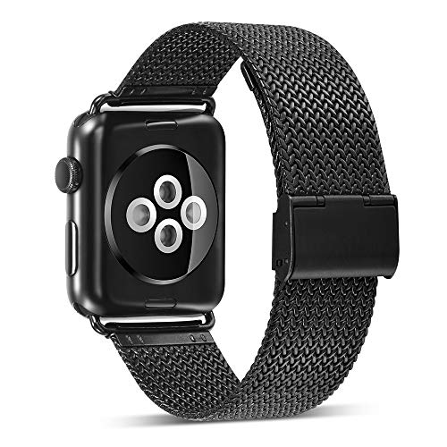 (Tuscom Stainless Steel Buckle Mesh Belt Wristbands Compatible for Apple Watch Series 3/2/1,42mm,Contracted Design Style (4 Colors) (Black))