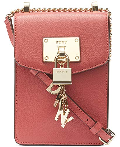 Dkny Womens Leather - DKNY Elissa Pebble Leather Charm Chain Strap Crossbody (Deep Blush)