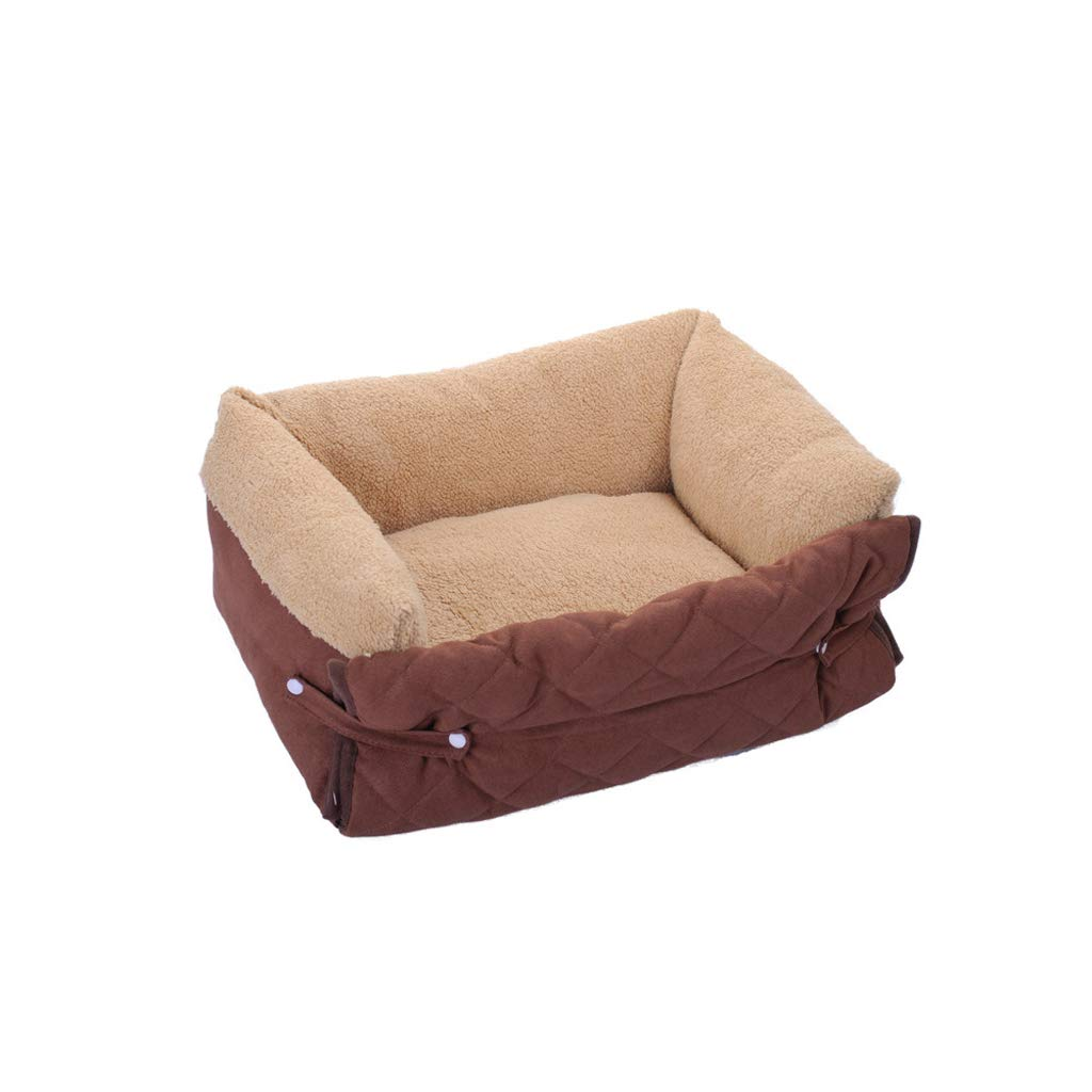 BROWN M BROWN M TLTLCWW Dog Bed, Multi-functional Pet Bed Four Seasons Universal Removable And Washable Cat Bed Square Pet Nest, Multi-color Optional (color   BROWN, Size   M)