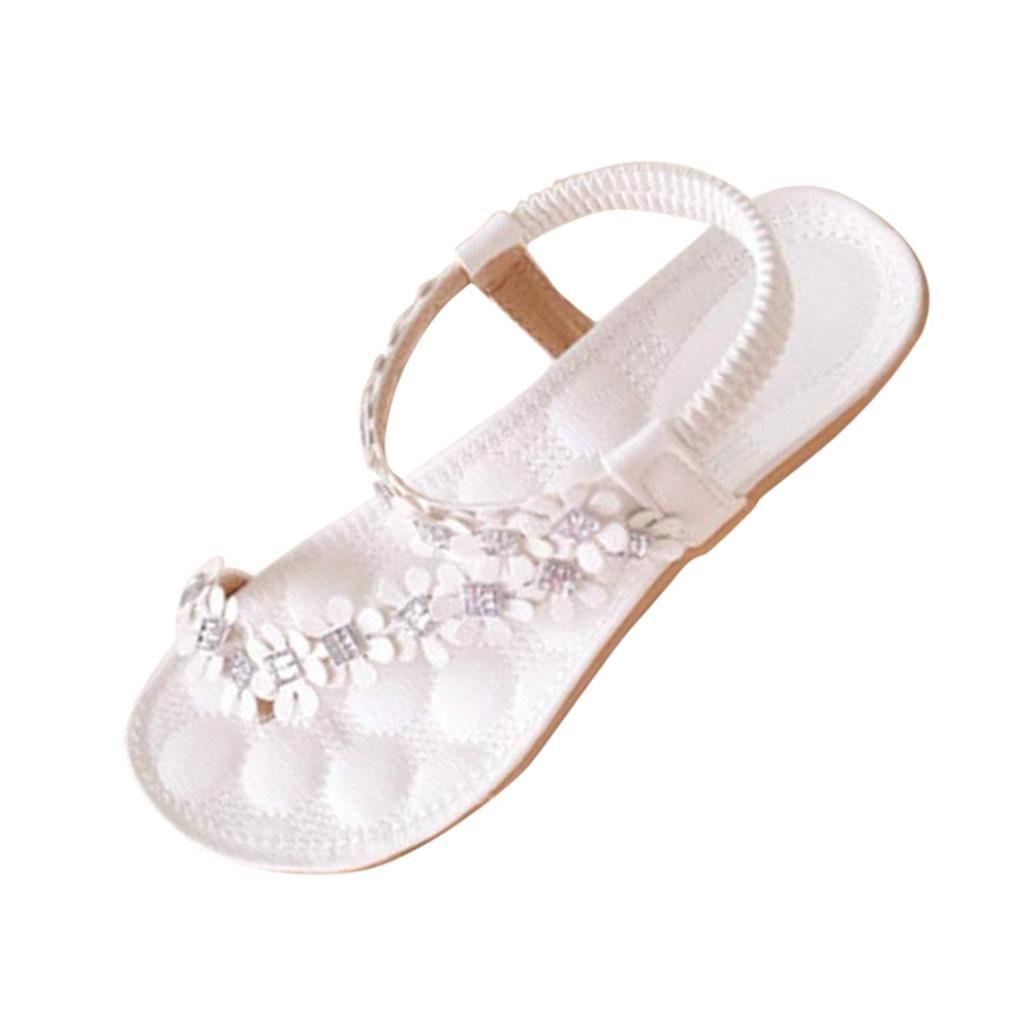 Fullfun Women Summer Bohemia Flat Sandals Flower Beads Flip-Flop Shoes (6.5, White)