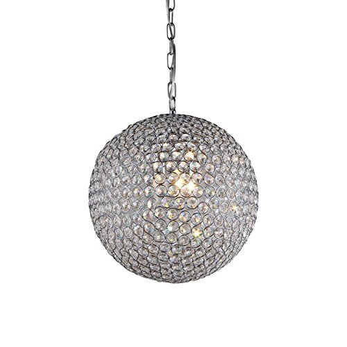 Whse of Tiffany RL7958/4 'Prometheus' Chrome and Crystal 4-Light Chandelier - Traditional Round Ball