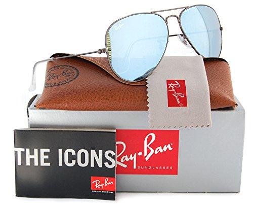 (Ray-Ban RB3025 Small Aviator Sunglasses Matte Gunmetal w/Silver Mirror (029/30) 3025 55mm Authentic)