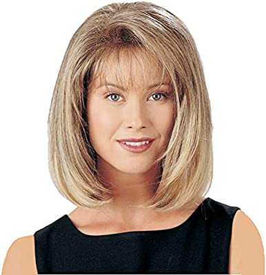 GNIMEGIL Fashion Ombre Light Blonde Hair Bob Hairstyles Synthetic Wigs for  Women Medium Length Straight Hair Replacement Wigs Costume Cosplay Party ...