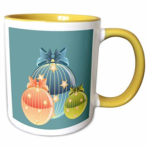 3dRose TNMGraphics Christmas - Blue Orange and Green Glass Ornaments - 11oz Two-Tone Yellow Mug (mug_97877_8) (Two Tone Glass Ornament)