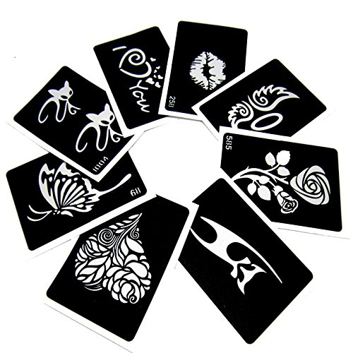 10 Sheet Women Kids Temporary Tattoo Stencil Kit for Body Art Painting, Reusable Airbrush Glitter Templates 11 X 8 cm