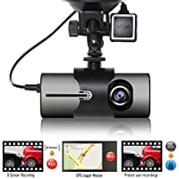 Indigi XR300 Dash Cam 2.7 LCD DVR + GPS Module & Google Maps on Review + Dual Lens (Front & In-Cab Recording)